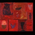 15 Untitled 12 bird legs 21x23 oil sectioned panels 1996
