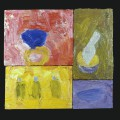 8 Untitled 5 candles 19x19 oil on sectioned panels 1996