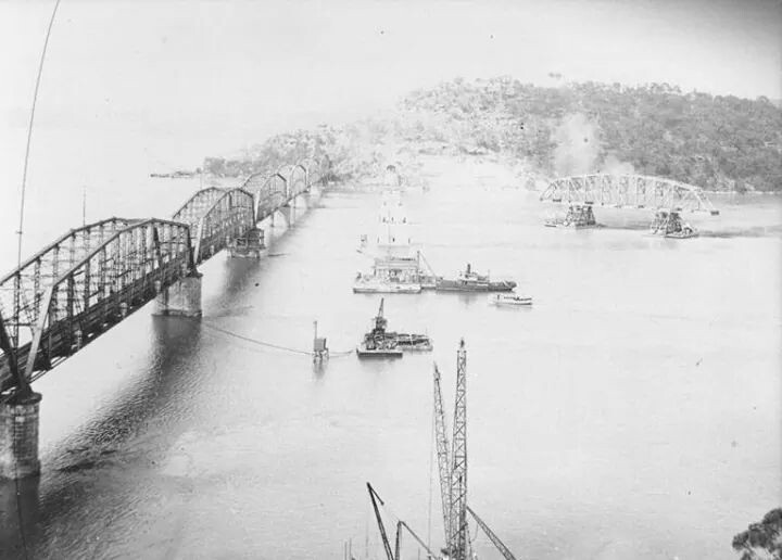 1945 Floating a span of the second Hawkesbury River Railway Bridge into place