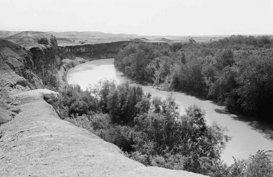River Jordan - looking down stream - Palestine circa pre 1946