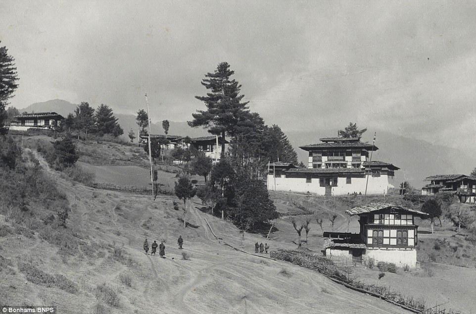 The Gorina Monastery, surrounded by Lamasi house, situated on a spur running into the Paro valley in Bhutan