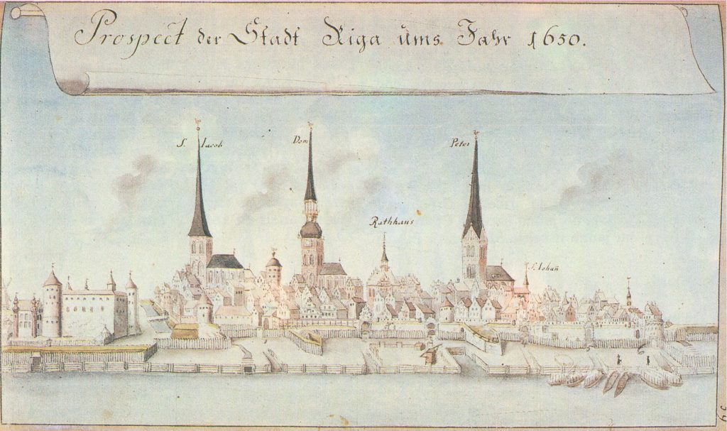 Riga in 1650 Drawing by Johann Christoph Brotze